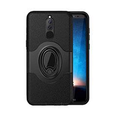 Funda Bumper Silicona y Plastico Mate Carcasa con Magnetico Soporte para Huawei Mate 10 Lite Negro