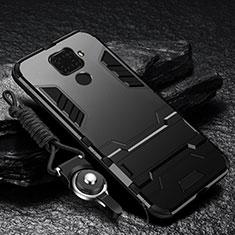 Funda Bumper Silicona y Plastico Mate Carcasa con Magnetico Soporte para Huawei Mate 30 Lite Negro