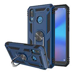 Funda Bumper Silicona y Plastico Mate Carcasa con Magnetico Soporte para Huawei Nova 3e Azul