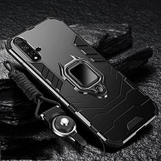 Funda Bumper Silicona y Plastico Mate Carcasa con Magnetico Soporte para Huawei Nova 5 Pro Negro