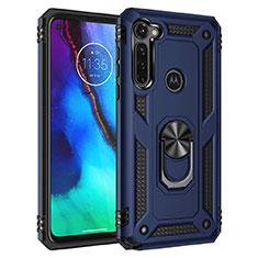 Funda Bumper Silicona y Plastico Mate Carcasa con Magnetico Soporte para Motorola Moto G Pro Azul
