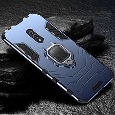 Funda Bumper Silicona y Plastico Mate Carcasa con Magnetico Soporte para Realme X Azul