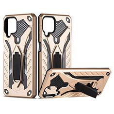 Funda Bumper Silicona y Plastico Mate Carcasa con Magnetico Soporte para Samsung Galaxy A12 Oro