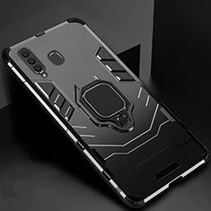 Funda Bumper Silicona y Plastico Mate Carcasa con Magnetico Soporte para Samsung Galaxy A60 Negro