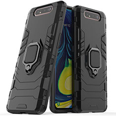 Funda Bumper Silicona y Plastico Mate Carcasa con Magnetico Soporte para Samsung Galaxy A80 Negro