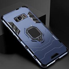 Funda Bumper Silicona y Plastico Mate Carcasa con Magnetico Soporte para Samsung Galaxy S8 Plus Azul