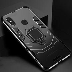 Funda Bumper Silicona y Plastico Mate Carcasa con Magnetico Soporte para Xiaomi Mi A2 Negro