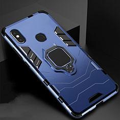 Funda Bumper Silicona y Plastico Mate Carcasa con Magnetico Soporte para Xiaomi Redmi 6 Pro Azul