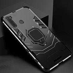 Funda Bumper Silicona y Plastico Mate Carcasa con Magnetico Soporte para Xiaomi Redmi Note 8T Negro