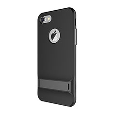 Funda Bumper Silicona y Plastico Mate Carcasa con Soporte A01 para Apple iPhone 7 Negro
