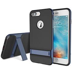 Funda Bumper Silicona y Plastico Mate Carcasa con Soporte A01 para Apple iPhone 8 Plus Azul