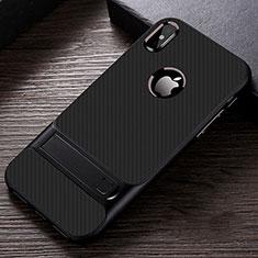 Funda Bumper Silicona y Plastico Mate Carcasa con Soporte A01 para Apple iPhone Xs Max Negro