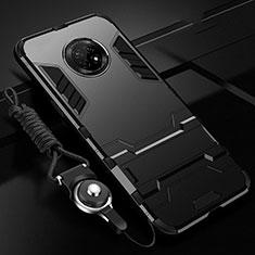 Funda Bumper Silicona y Plastico Mate Carcasa con Soporte A01 para Huawei Enjoy 20 Plus 5G Negro