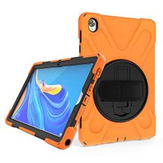 Funda Bumper Silicona y Plastico Mate Carcasa con Soporte A01 para Huawei MatePad 10.8 Naranja