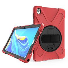 Funda Bumper Silicona y Plastico Mate Carcasa con Soporte A01 para Huawei MatePad 10.8 Rojo
