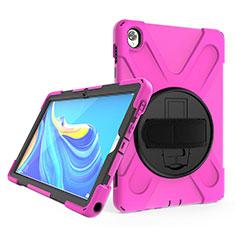 Funda Bumper Silicona y Plastico Mate Carcasa con Soporte A01 para Huawei MatePad 10.8 Rosa Roja