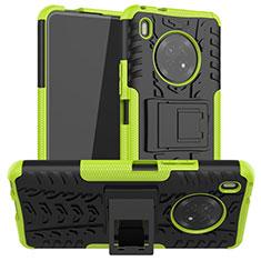 Funda Bumper Silicona y Plastico Mate Carcasa con Soporte A01 para Huawei Y9a Verde