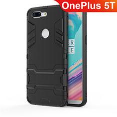 Funda Bumper Silicona y Plastico Mate Carcasa con Soporte A01 para OnePlus 5T A5010 Negro