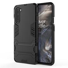 Funda Bumper Silicona y Plastico Mate Carcasa con Soporte A01 para OnePlus Nord Negro