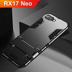 Funda Bumper Silicona y Plastico Mate Carcasa con Soporte A01 para Oppo RX17 Neo Negro