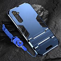 Funda Bumper Silicona y Plastico Mate Carcasa con Soporte A01 para Realme 6 Azul
