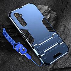 Funda Bumper Silicona y Plastico Mate Carcasa con Soporte A01 para Realme 6s Azul