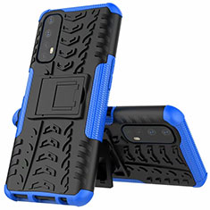 Funda Bumper Silicona y Plastico Mate Carcasa con Soporte A01 para Realme 7 Azul