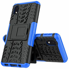 Funda Bumper Silicona y Plastico Mate Carcasa con Soporte A01 para Samsung Galaxy A01 Core Azul
