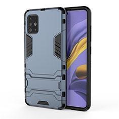 Funda Bumper Silicona y Plastico Mate Carcasa con Soporte A01 para Samsung Galaxy A51 4G Azul