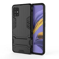Funda Bumper Silicona y Plastico Mate Carcasa con Soporte A01 para Samsung Galaxy A51 4G Negro