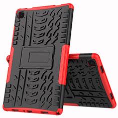 Funda Bumper Silicona y Plastico Mate Carcasa con Soporte A01 para Samsung Galaxy Tab A7 4G 10.4 SM-T505 Rojo