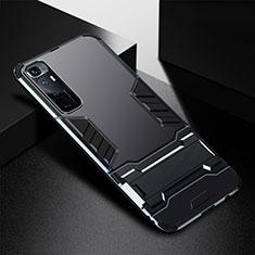 Funda Bumper Silicona y Plastico Mate Carcasa con Soporte A01 para Xiaomi Mi 10 Ultra Negro