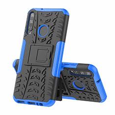 Funda Bumper Silicona y Plastico Mate Carcasa con Soporte A02 para Huawei P40 Lite E Azul