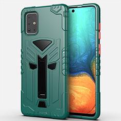Funda Bumper Silicona y Plastico Mate Carcasa con Soporte A02 para Samsung Galaxy A71 5G Verde