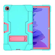 Funda Bumper Silicona y Plastico Mate Carcasa con Soporte A02 para Samsung Galaxy Tab A7 Wi-Fi 10.4 SM-T500 Cian