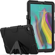 Funda Bumper Silicona y Plastico Mate Carcasa con Soporte A02 para Samsung Galaxy Tab S5e 4G 10.5 SM-T725 Negro