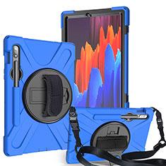 Funda Bumper Silicona y Plastico Mate Carcasa con Soporte A02 para Samsung Galaxy Tab S7 11 Wi-Fi SM-T870 Azul