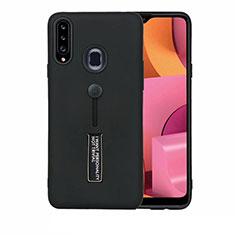 Funda Bumper Silicona y Plastico Mate Carcasa con Soporte A03 para Samsung Galaxy A20s Negro