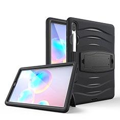 Funda Bumper Silicona y Plastico Mate Carcasa con Soporte A03 para Samsung Galaxy Tab S6 10.5 SM-T860 Negro