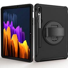 Funda Bumper Silicona y Plastico Mate Carcasa con Soporte A03 para Samsung Galaxy Tab S7 11 Wi-Fi SM-T870 Negro