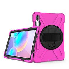 Funda Bumper Silicona y Plastico Mate Carcasa con Soporte A04 para Samsung Galaxy Tab S6 10.5 SM-T860 Rosa Roja