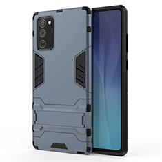 Funda Bumper Silicona y Plastico Mate Carcasa con Soporte N01 para Samsung Galaxy Note 20 5G Azul