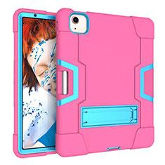 Funda Bumper Silicona y Plastico Mate Carcasa con Soporte para Apple iPad Air 10.9 (2020) Rosa Roja
