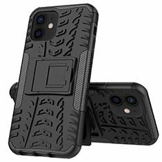 Funda Bumper Silicona y Plastico Mate Carcasa con Soporte para Apple iPhone 12 Mini Negro