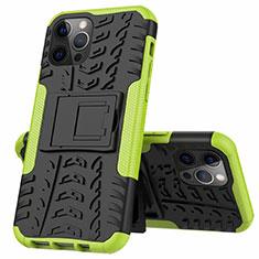 Funda Bumper Silicona y Plastico Mate Carcasa con Soporte para Apple iPhone 12 Pro Max Verde