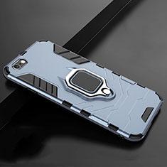 Funda Bumper Silicona y Plastico Mate Carcasa con Soporte para Apple iPhone 7 Azul