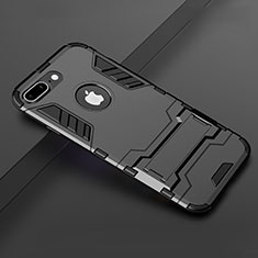 Funda Bumper Silicona y Plastico Mate Carcasa con Soporte para Apple iPhone 8 Plus Negro