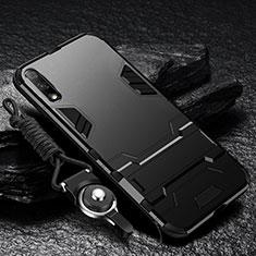 Funda Bumper Silicona y Plastico Mate Carcasa con Soporte para Huawei Enjoy 10 Negro