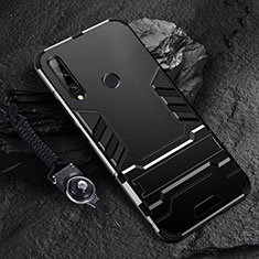 Funda Bumper Silicona y Plastico Mate Carcasa con Soporte para Huawei Enjoy 10 Plus Negro