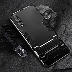 Funda Bumper Silicona y Plastico Mate Carcasa con Soporte para Huawei Enjoy 10S Negro